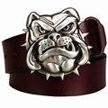 Homens da moda cinto de couro Genuíno fivela de metal bulldog cão cabeça cinto de estilo ocidental cowboy cintos de hip hop Dança de Rua