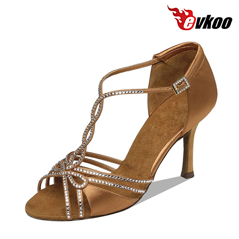 Evkoodance US4-12 Satin With Strass Black Brown Khaki Color Latin Dance Shoes For Ladies Heel 8.3cm Evkoo-017 фен first fa 5666 3 re