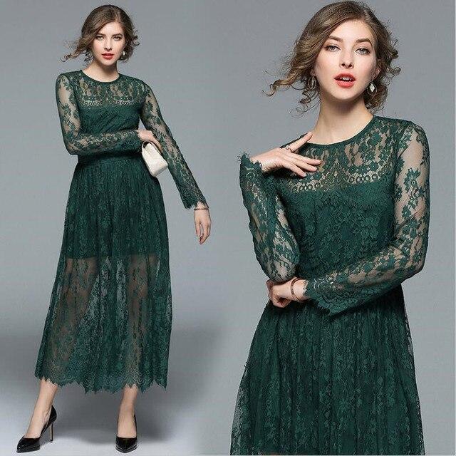 abaf46ce9c 2018 spring woman high quality floral embroidery maxi dress o-neck dark  green long lace dress vestido plus size women dress