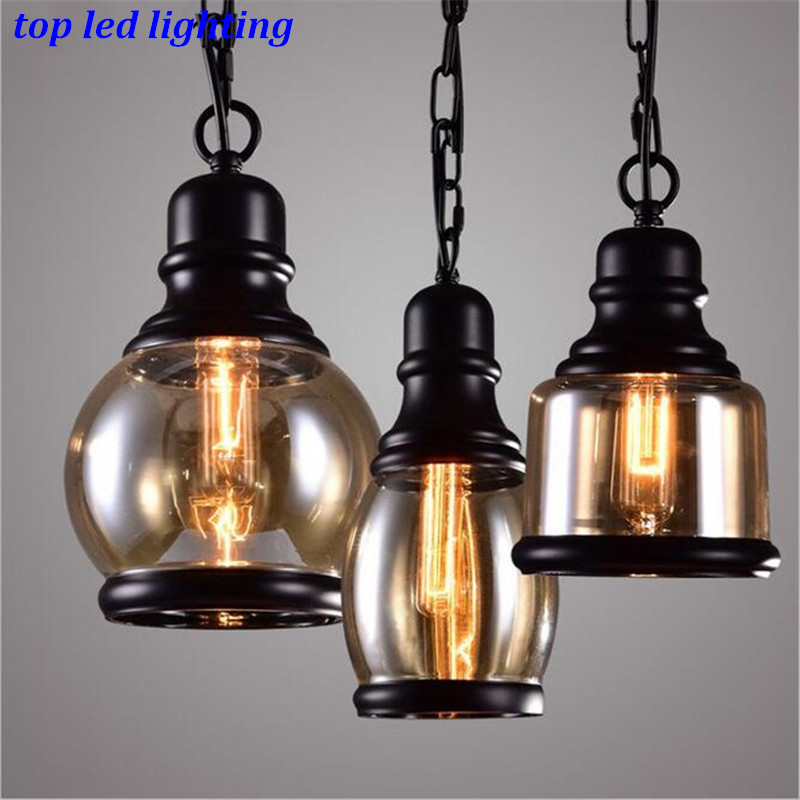 ФОТО Vintage Loft Iron Glass Pendant Lights for Dining Room Bar Creative Rope Chain Pendant Lamps AC 80-265V 1150