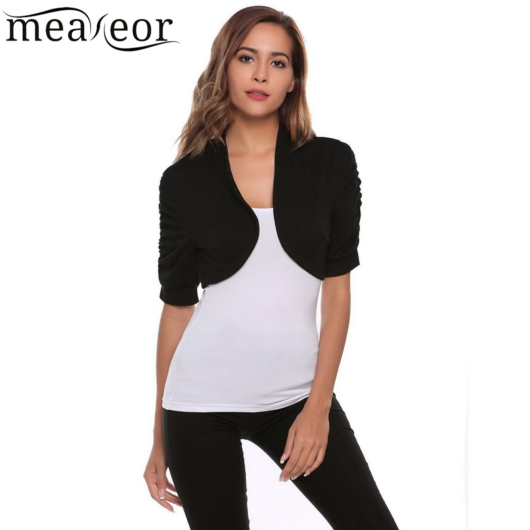 Meaneor Women Casual Ruffle Cardigan Short Sleeve Shrug Solid Front Kemeja Pria Shirt Sy860 Open Bolero Sexy Cardigans Autumn Female Sweaters In From Womens Clothing