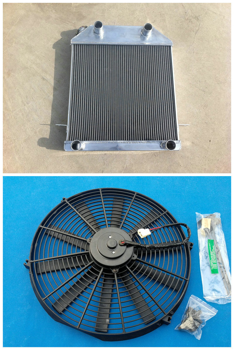 3 ROW ALUMINUM RACING RADIATOR Fan For FORD 1928 1929 MODEL A fit CHEVY GM V8