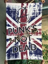 Punk's Not Dead Rock ROCK flag banner bar home decoration guitar holiday party banner