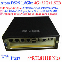 mini pc server linux Atom D525 1.8Ghz 4 Gigabit Lan Firewall motherboard 4-way input and output GPIO 4G RAM 32G SSD 1.5TB HDD