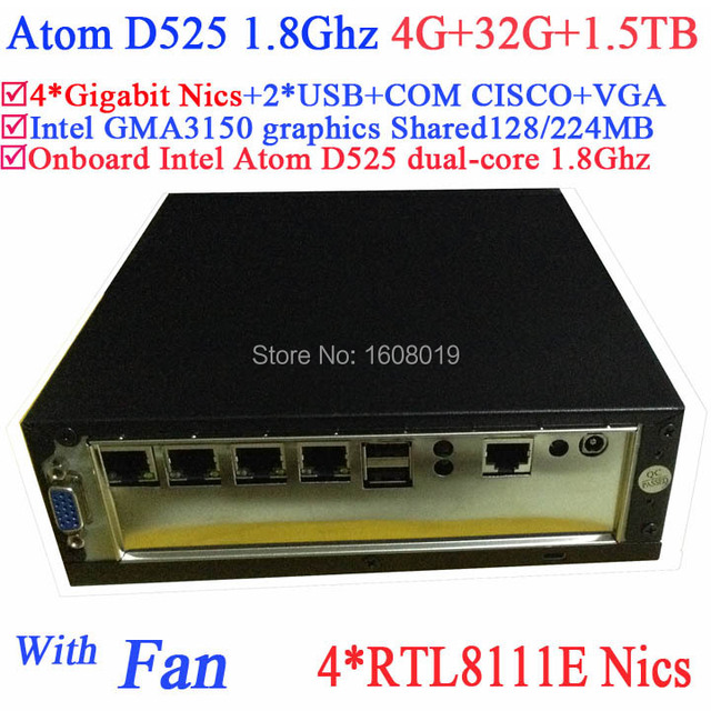 mini pc server linux Atom D525 1.8Ghz 4 Gigabit Lan Firewall motherboard 4-way input and output GPIO 4G RAM 32G SSD 1.5TB HDD
