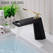 BAOLINLONG Baking Finish Brass Basin Faucets Bathroom Tap Deck Mount Sinks Mixer Waterfall Faucet