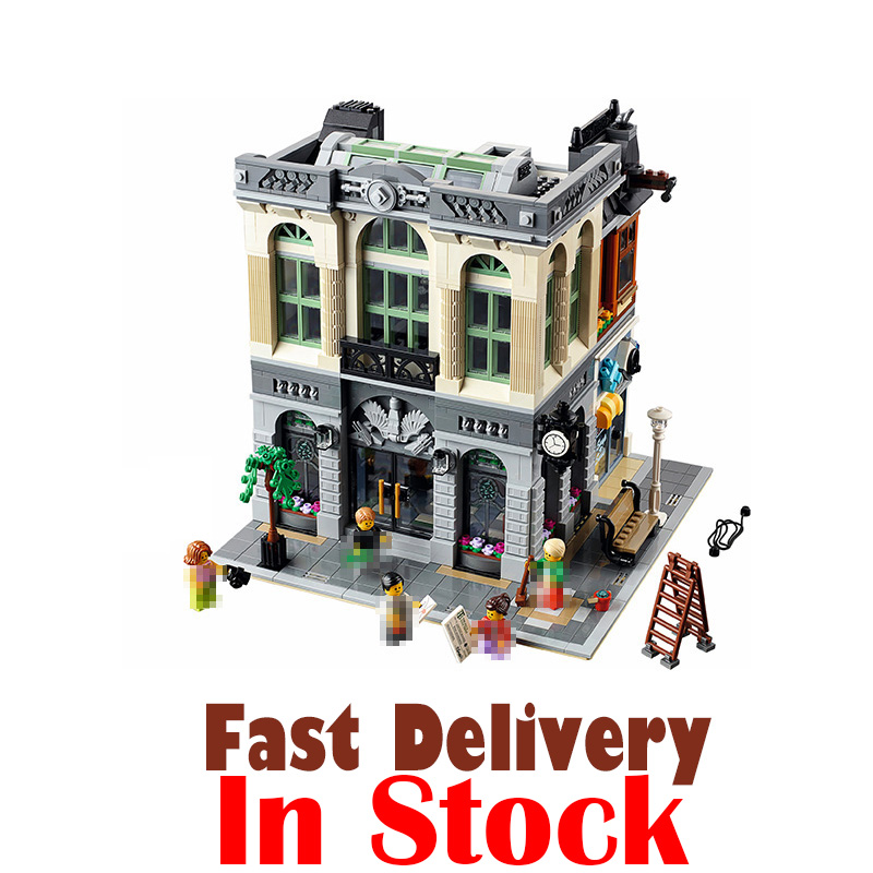 LEPIN 15001 Brick Bank Street View Creator Building Blocks Bricks DIY Toys For Boys oyuncak Compatible with legoINGly 10251 a toy a dream lepin 15008 2462pcs city street creator green grocer model building kits blocks bricks compatible 10185