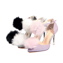 Fur ball sandals new arrival spring and autumn summer women's shoes high heels fashion sexy women shoes