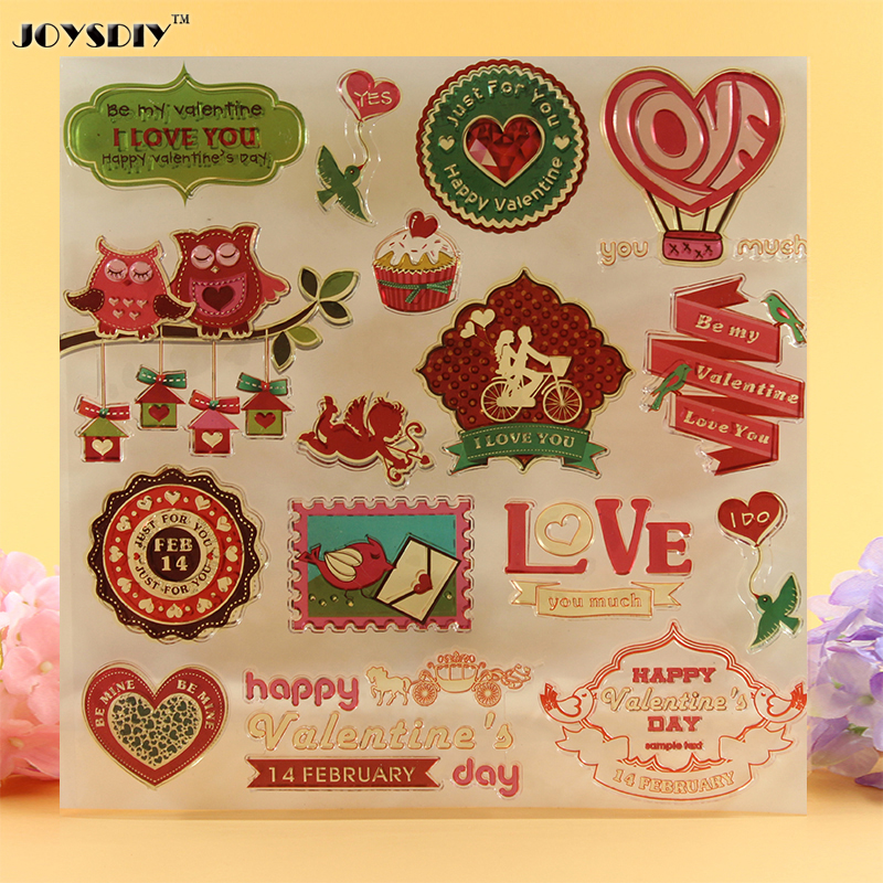 Love  Happy Valentine's Day Scrapbook DIY photo cards account rubber stamp clear stamp transparent stamp  20.5*20.5 CM