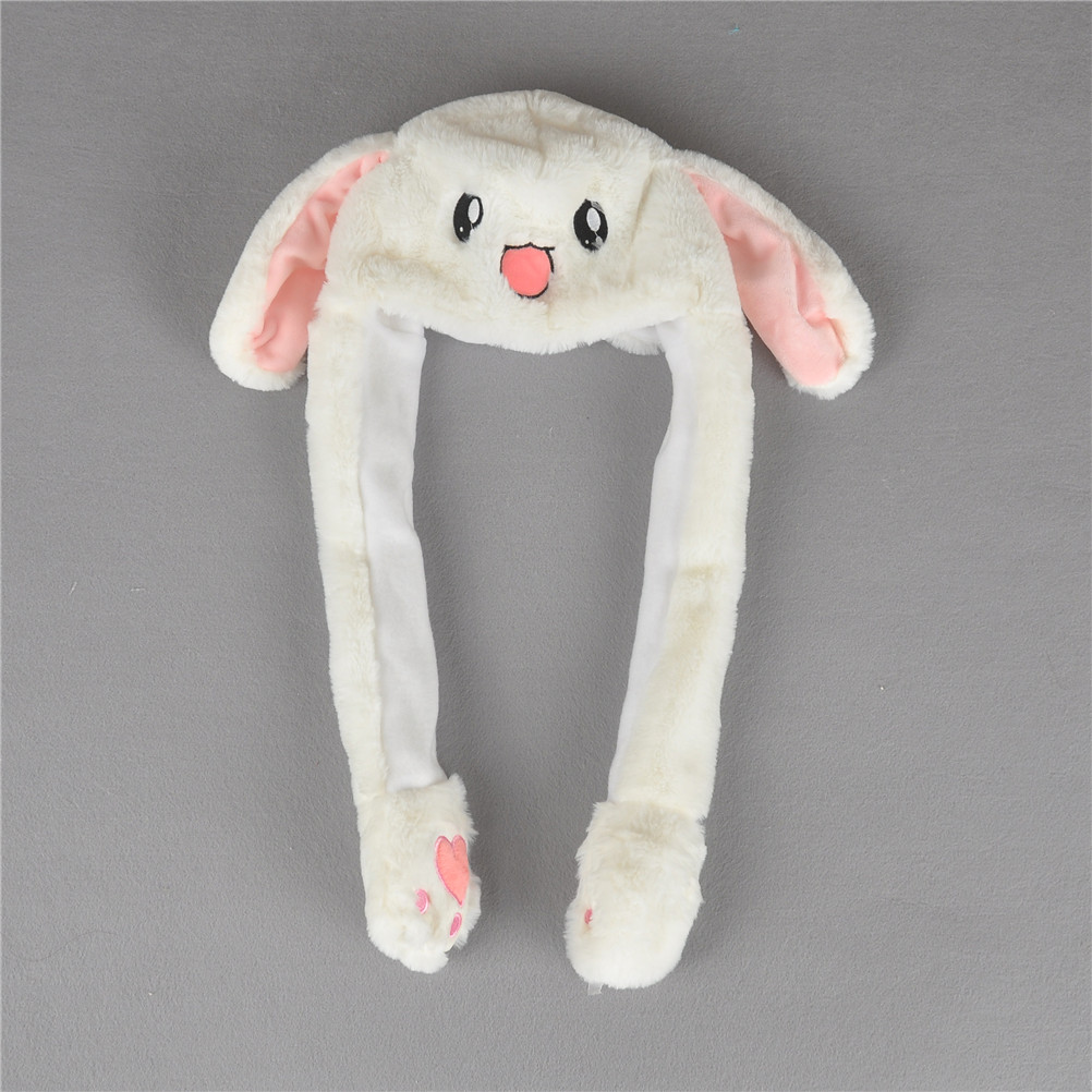Kids Rabbit Animal Hat Plush Moving Ear Rabbit Hat Toys Funny Pinching Ear Will Move Soft Stuffed Animals Best Gift