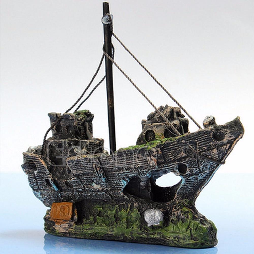 aquarium decoration epave coule bateau a voile navire destroyer grotte decorchina mainland