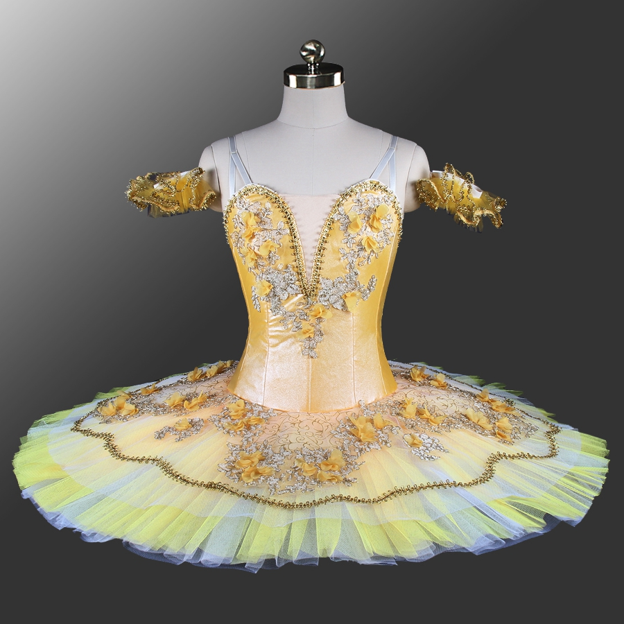 Paquita Classical pancake tutu Gold Women Ballet Stage Costume platter tutu Girls Yellow Professional Ballet Tutu for Kids