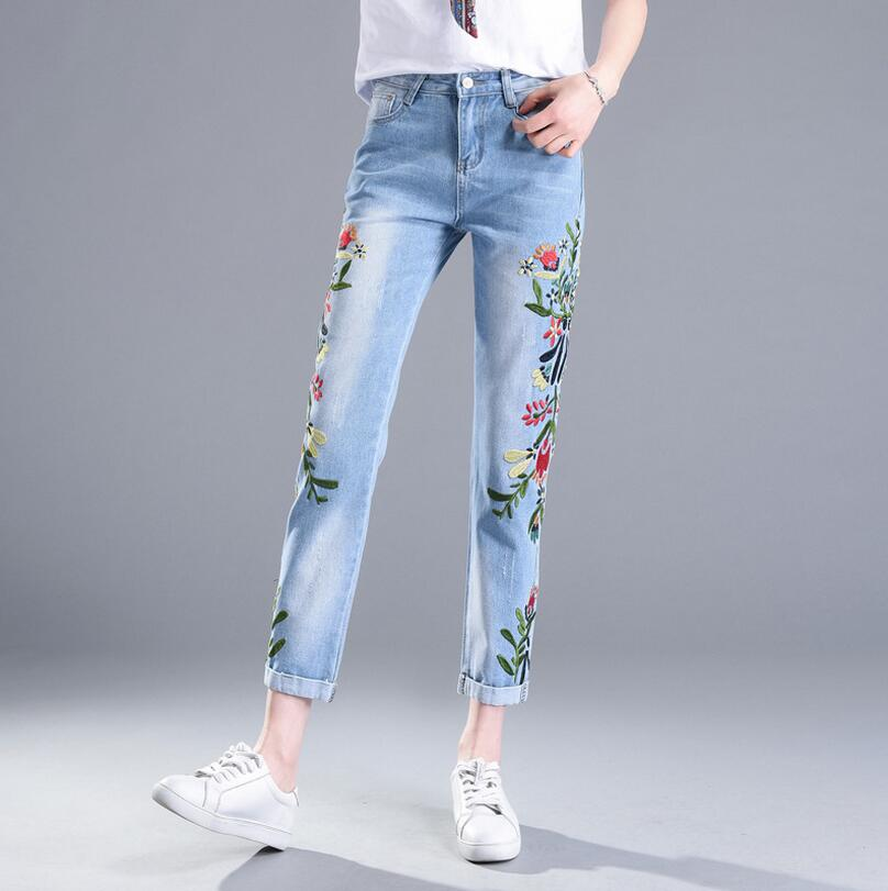 2017 spring and summer new women's embroidery jeans nine pants fashion slim crimping pencil pants denim pants w241  free shipping new spring and summer fashion men s denim jeans slim wear white pantyhose feet