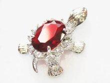 Luxury Jewelry Girls  Red  gem Stone Copper Silver Tortoise Pendants Women Female Luxury pendants + Necklace