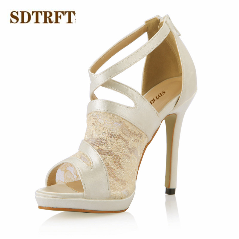 SDTRFT Plus:35-42 43 Summer Lace sweet shoes woman 12cm Thin High-Heeled sexy sandals Ankle-Wrap Party Cosplay CD pumps