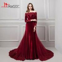 Spring 2018 Muslim Vintage Arabic Long Sleeves Elegant Burgundy Lace Appliques Velvet Evening Prom Dress With