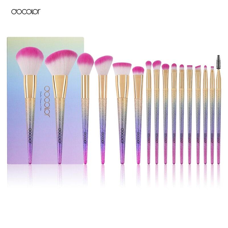 Docolor New Pro 16pcs Cosmetic Makeup Brushes Set Blush Powder Foundation Eyeshadow Eyeliner Lip Make Up