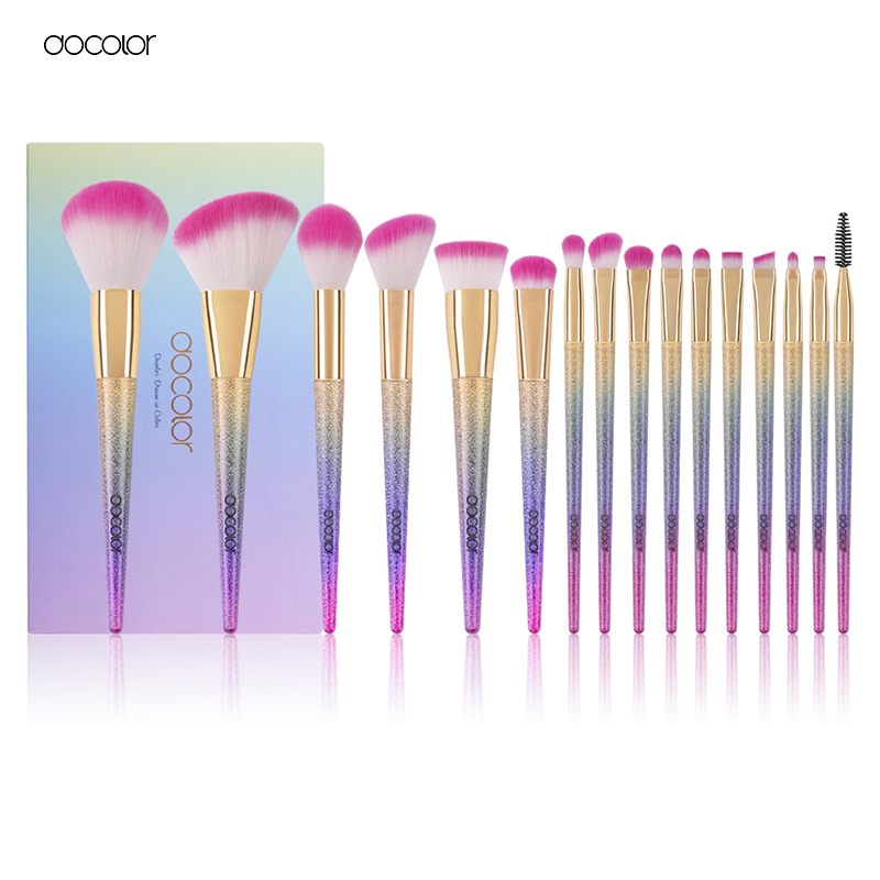 Docolor 16pcs makeup brushes set professional blush powder foundation eyeshadow eyeliner lip make up brush beauty cosmetic tools new lcbox professional 16 pcs makeup brush set kit pouch bag cosmetic brush kit cosmetic powder foundation eyeshadow brush tools