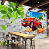 Pastoral Style Children Room Bedroom Wall Decoration Mural Wallpaper 3D Stereoscopic Window Cartoon Car Broken Wall Large Murals 1