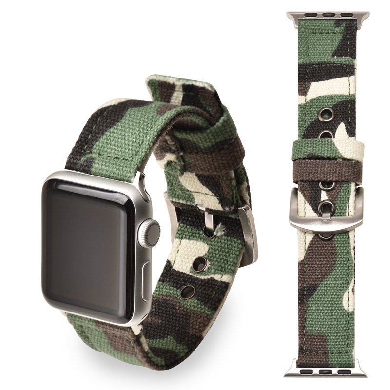 ASHEI Camouflage Canvas Watchbands Strap For Apple Watch Band Series 3 42mm Nylon Replacement Wrist Straps for 38 mm iWatch 1 2 ashei watch replacement band for apple watch series 3 2 1 vintage genuine leather watchbands for iwatch strap sport and edition