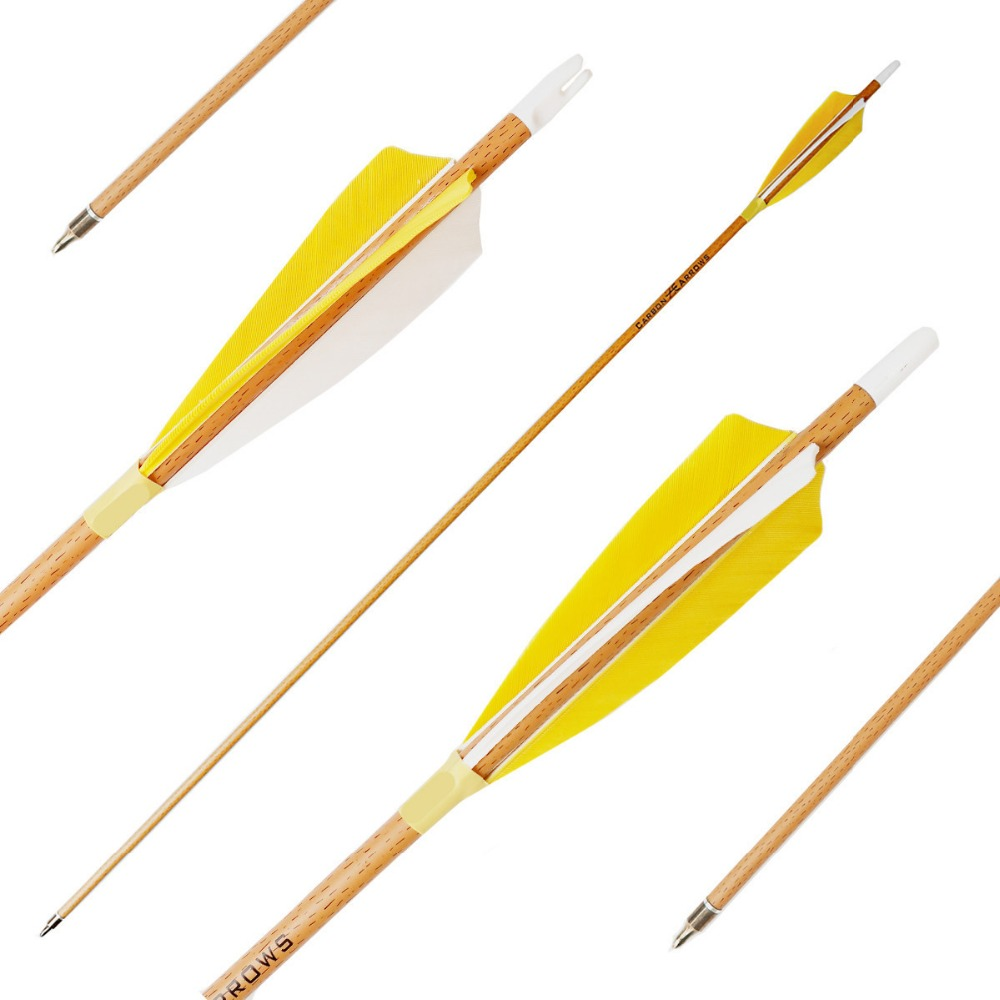 Archery Carbon Arrows 6 Pack Helical Feathers Wood Grain Cover Shaft Spine 340 400 500 for
