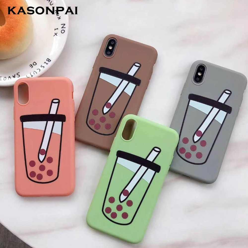 Cute Bubble Tea Phone Cases for iPhone XS MAX Coque Soft TPU Silicone Back Cover for iPhone X 8 7 6S 6 Plus XR Funny Case Capa
