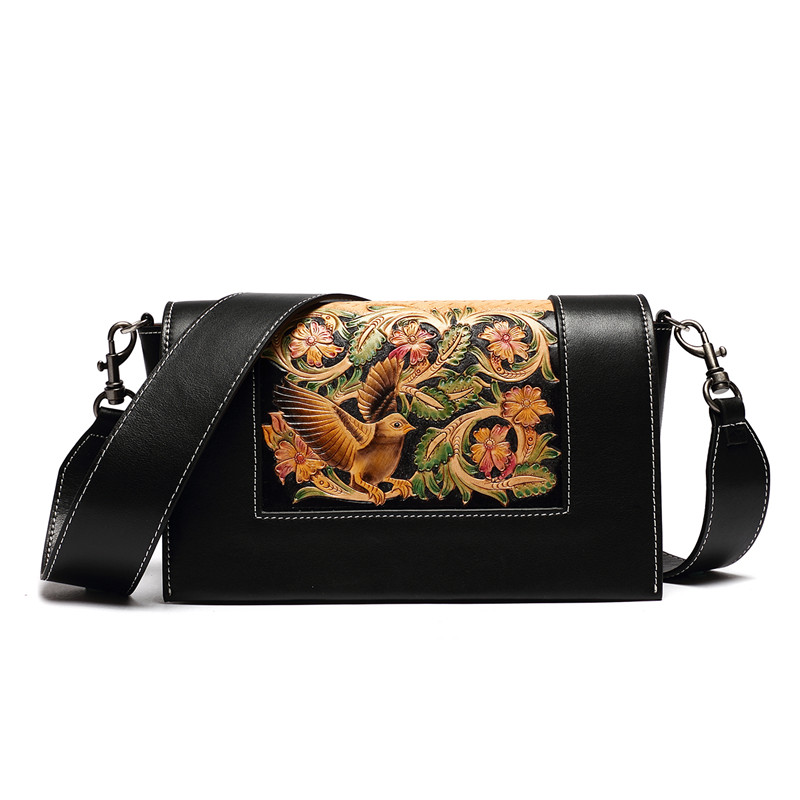 Fashion Female Shoulder Bag Leather women handbag Vintage Flower Messenger Bag Crossbody Bags Women Handbag 2016 spring newest vintage women handbag fashion skull rivet women s one shoulder messenger bag