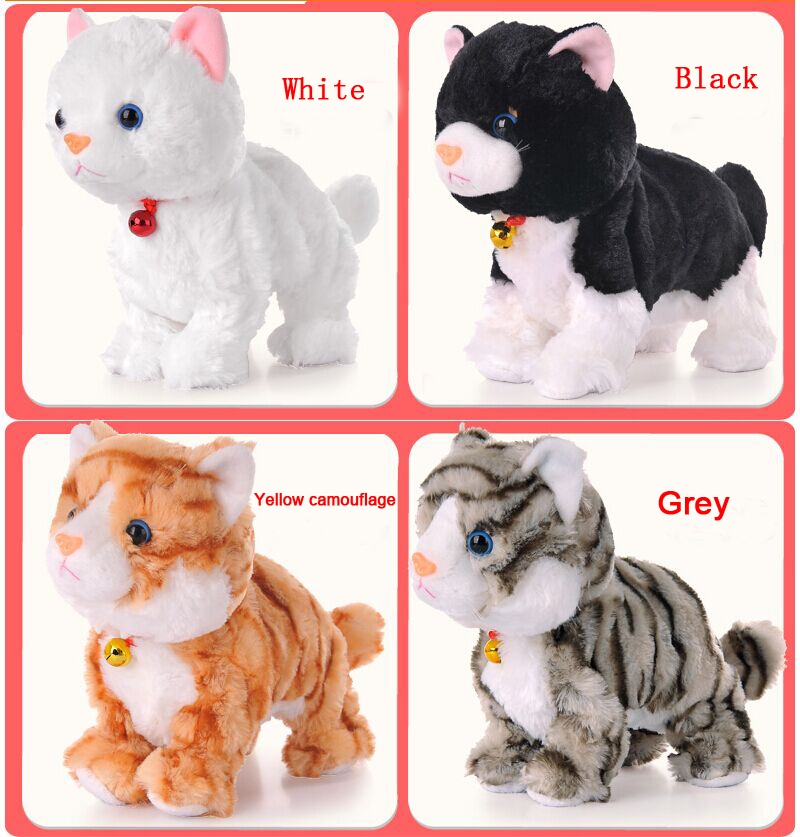 2016 Baby Toys Products Sound Control Electronic Pet Electronic Toys Cat Robot Cat Stand Walk Plush Kids Toys Gift for Children
