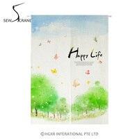 SewCrane Happy Life Spring Landscape Japanese Home Restaurant Door Curtain Noren Doorway Room Divider