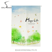 SewCrane Happy Life Spring Landscape Japanese Home Restaurant Door Curtain Noren Doorway Room Divider