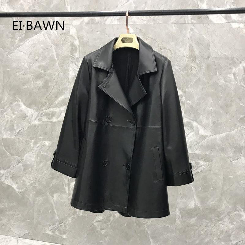 Autumn  Women Sheepskin Jacket Genuine Korean Version of The Double-breasted Leather