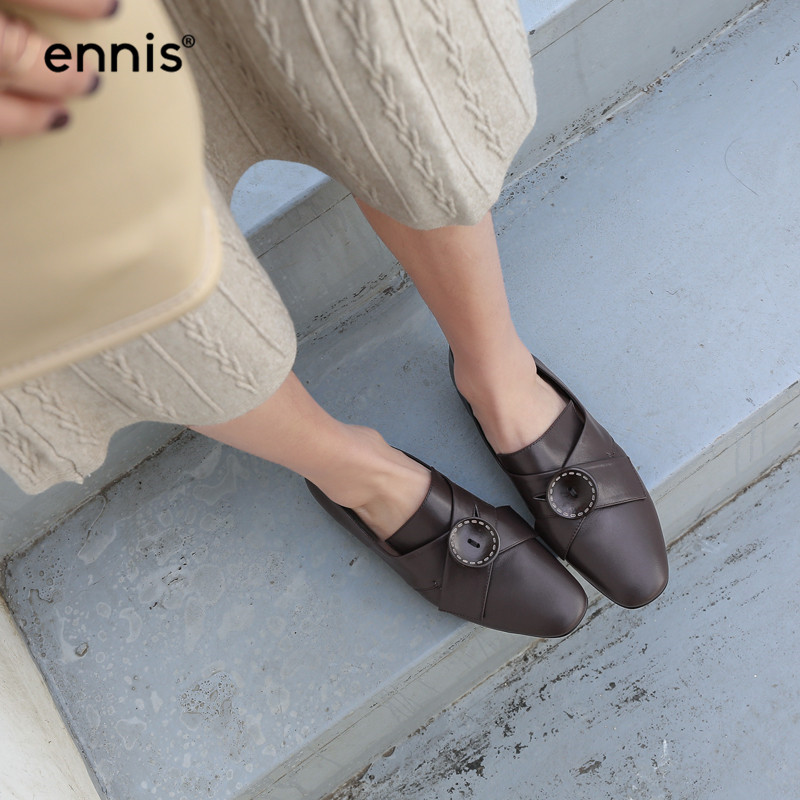 En Bouton Printemps Brun C938 Brown Chaussures black Femmes Décontractées Appartements Bout Rond Cuir Noir Dames Décoration Mocassins Mode Véritable De FqvB5x77