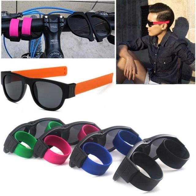 b7a814f2eb99 € 2.71 |Aliexpress.com: Comprar Creativo plegable Sol hombres mujeres  Wristband Slappable gafas De Sol Oculos De Sol Masculino pulsera gafas de  ...