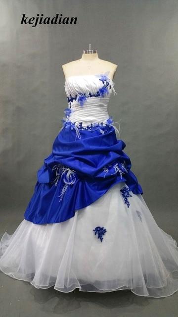 Blu Royal e Bianco Gotico Abiti Da Sposa Ball Gown Raso Robe De Mariage  Pizzo Appliques 78e33d02571