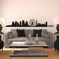 London Skyline Wall Decal Cute Vinyl wall Sticker Arts Europe City Wall Decals England Home decor Room decoration 9H X52W