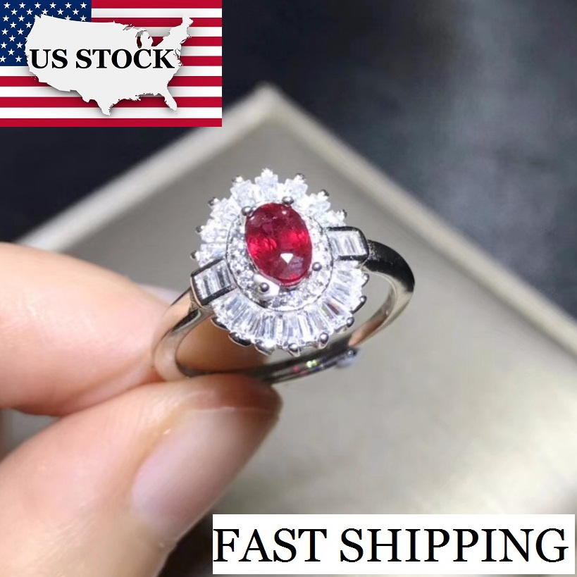 US STOCK Uloveido Oval Ruby Gemstone Ring 925 Sterling Silver Red Stone Ring for Women Women