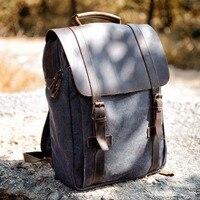 New Vintage Backpack Canvas Leather Men Backpack Military Canvas School Backpack men Rucksack male Knapsack Women mochila