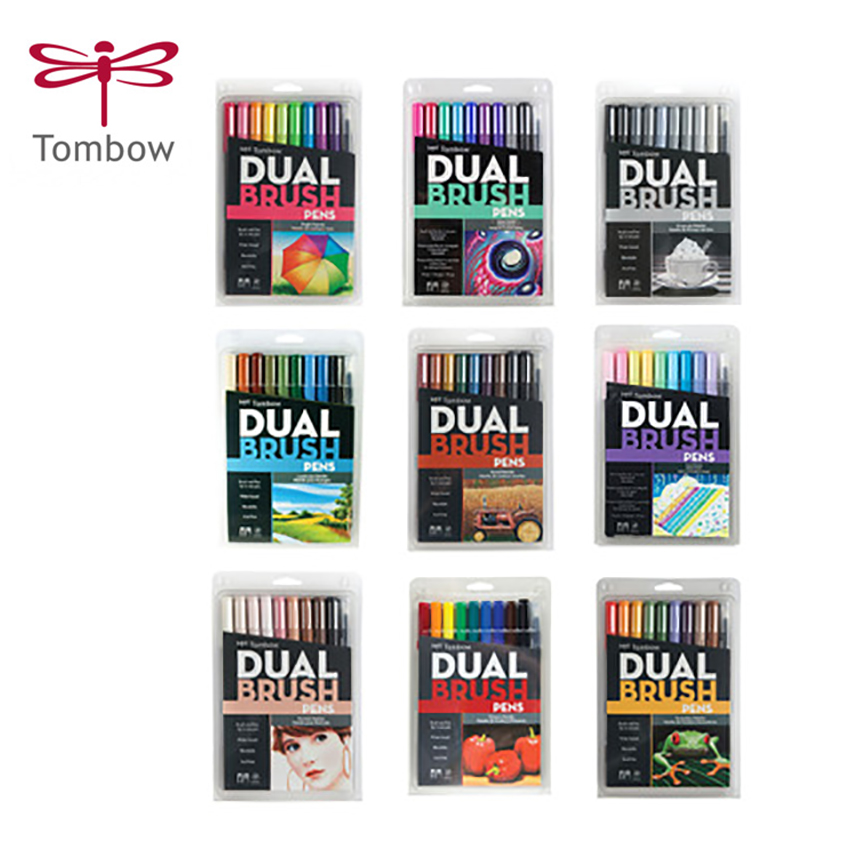 10pcs/set TOMBOW AB T Calligraphy pen set double head markers color pen soft brush pen drawing nomination art supplies-in Art Markers from Office & School Supplies