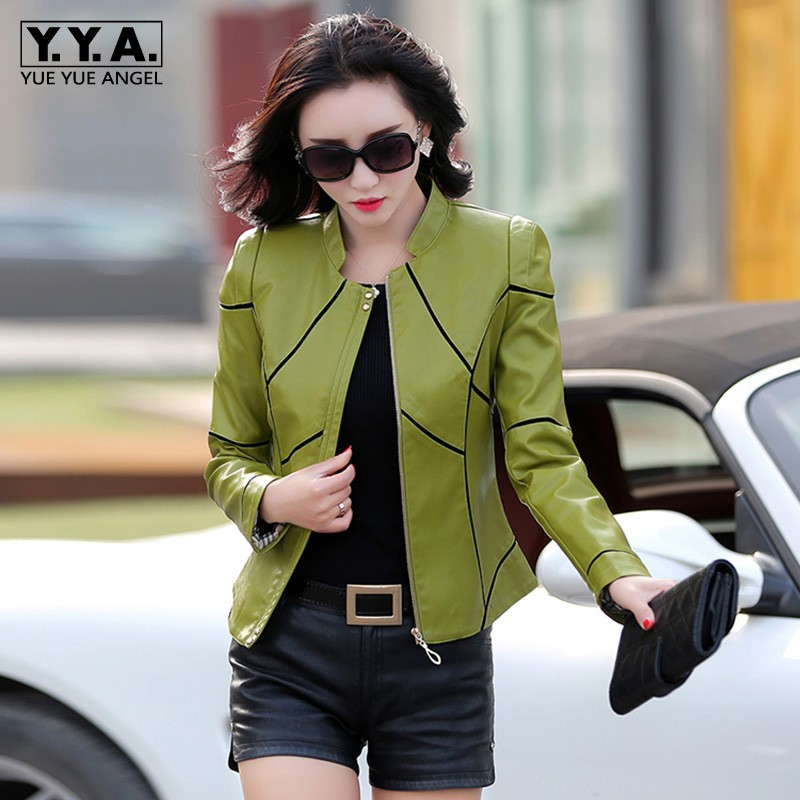 Ladies Spring Autumn Splice Leather Jackets Female Big Size 4XL Biker Jacket Office Cropped Leather Coat Red Black Green Outwear