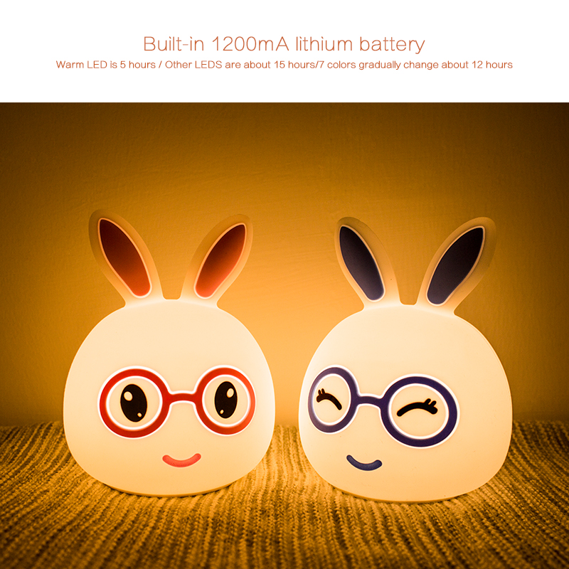 2018 New Cute Rabbit mookey LED RGB Night Light Touch Sensor Children Baby Bedside Lamp Childrens Toys Christmas Birthday Gift
