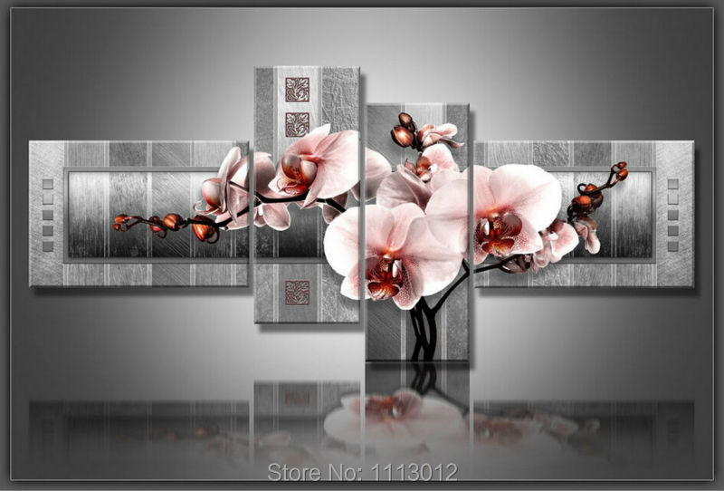 Mode rose rouge couteau tulipes fleur peinture à l'huile sur toile 4 pièces ensembles abstrait maison moderne mur Art décor pour salon vente