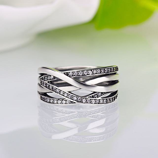 0ce758230 HOMOD New Silver Sparkling Braided Pave Pandora Ring for Women Wedding  Luxury Exaggerated Big Twisted Jewelry Dropshipping-in Wedding Bands from  Jewelry ...