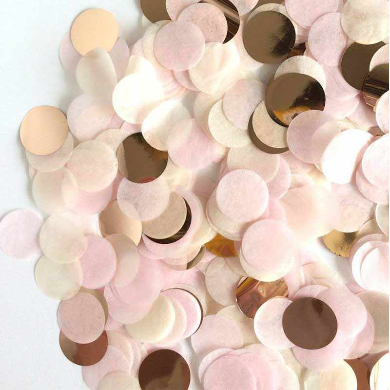20g/Bag 2.5cm Gold Pink Tissue Paper Wedding Confetti for Gender Reveal Girls Birthday Party Decorations