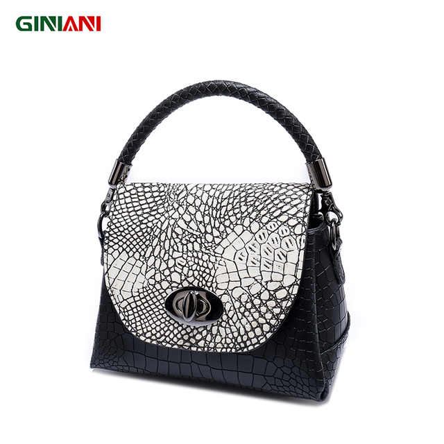 GINIANI Genuine Real Leather Alligator Revolving Button Cute Trapeze Handbag Tungsten Steel Hardware Little Crossbody Bags