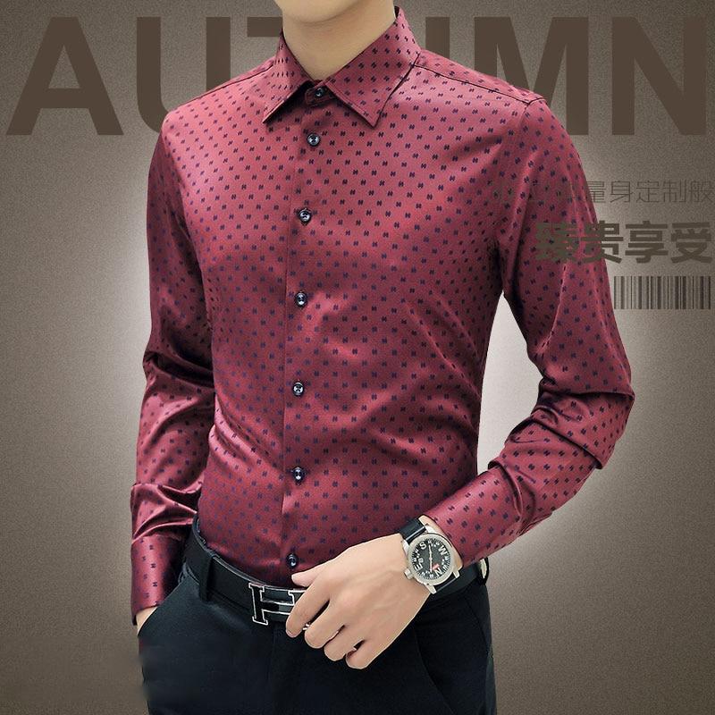 new arrival autumn korean men shirt long sleeve 2016 red
