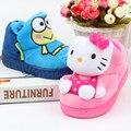 Invierno Engrosada niñas bebés caliente ranas pantofole de casa zapatillas de interior sandalias de los niños niños de dibujos animados gatito calzado 16N1103