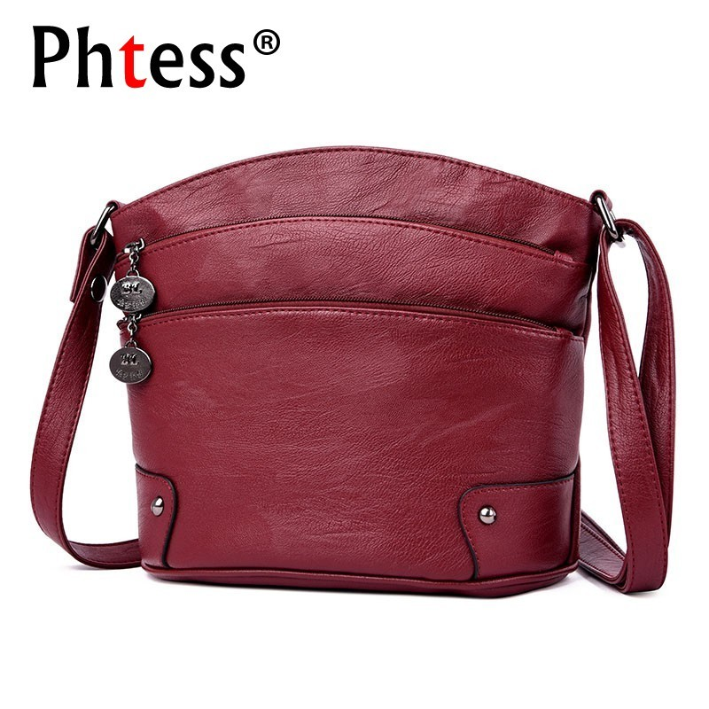 2019 Crossbody Bags For Women Leather Shoulder Bags Women Vintage Messenger Bag Sac A Main Female Messenger Bag Flap For Girls
