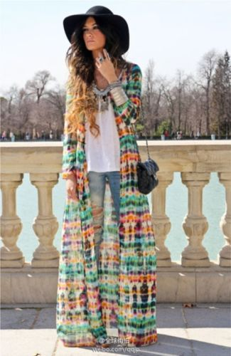 Brand Tie dye Kimono Cardigan Chiffon Long Maxi Dress Beach Cover ...