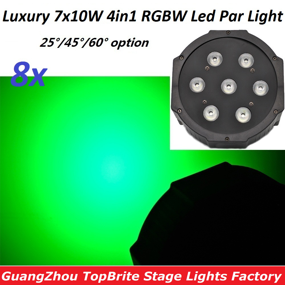 8xLot վաճառքի բեմի լամպեր Բնակարանային պլաստիկ լուսավորող լուսային լուսավորության 7x10W 4in1 RGBW լվացքի խթանման ազդեցության լույսեր Տնային երեկույթ DMX վերահսկիչ սարքավորում