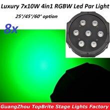 8xLot Sales Stage Lamps Flat Plastic Led Par Light 7x10W 4in1 RGBW Wash Strobe Effect Lights Home Party DMX Controller Equipment